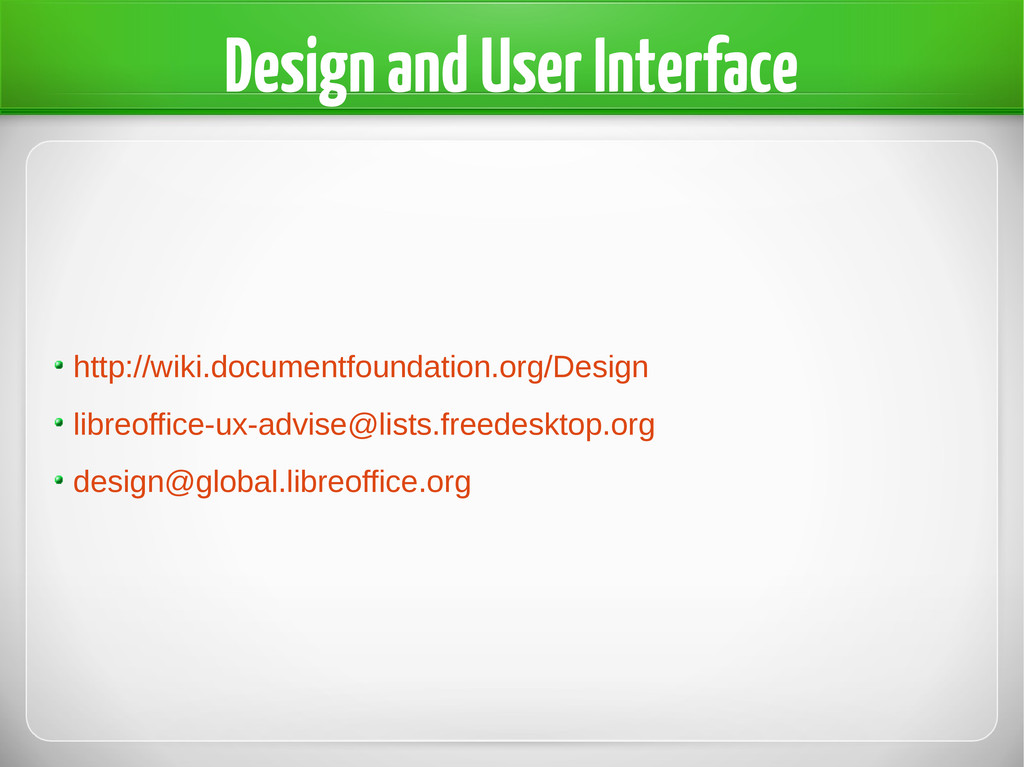 Design and User Interface http://wiki.documentf...