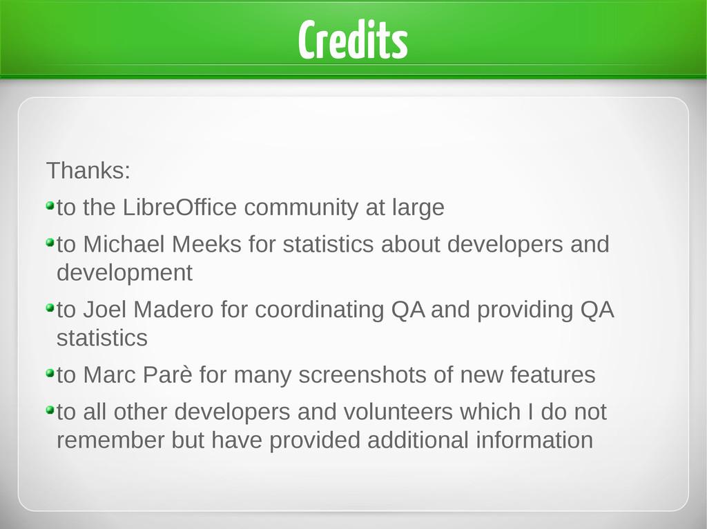 Credits Thanks: to the LibreOffice community at...