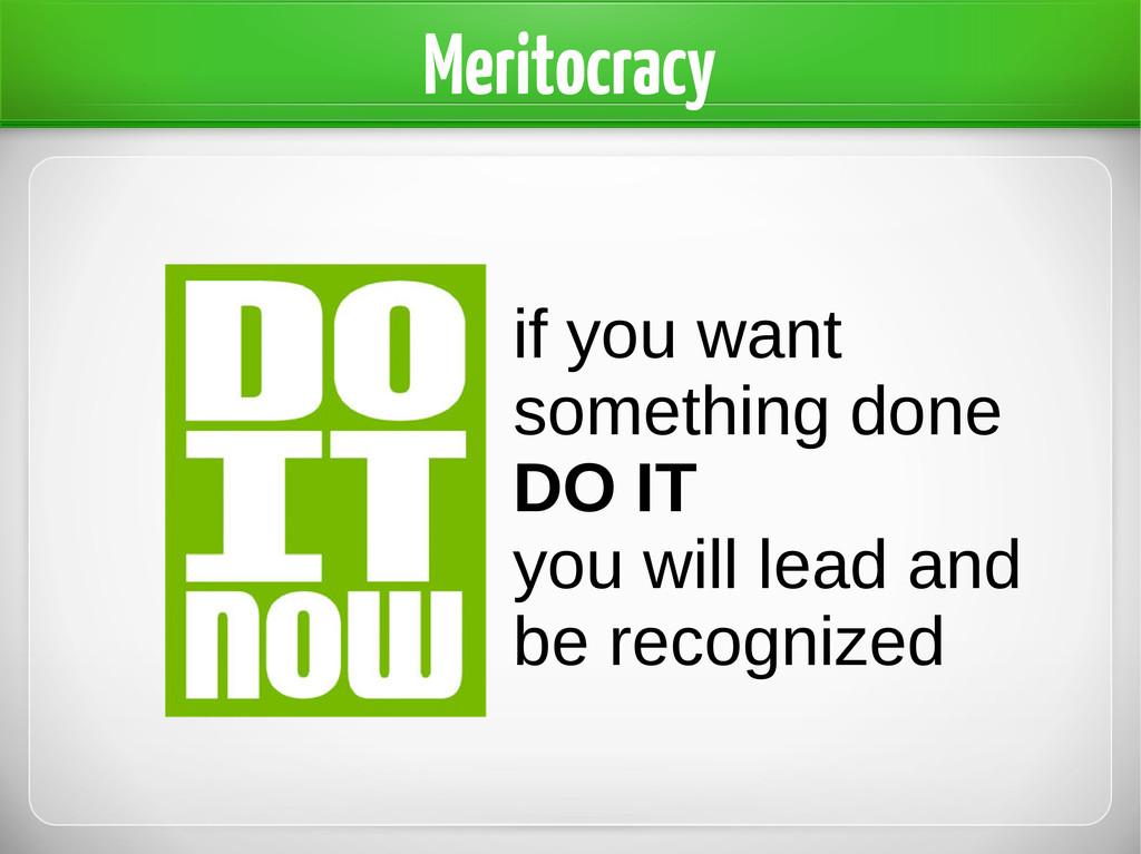 Meritocracy if you want something done DO IT yo...