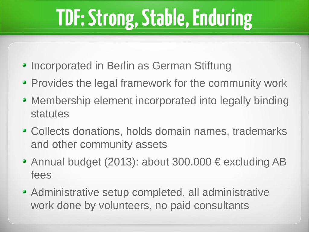 TDF: Strong, Stable, Enduring Incorporated in B...