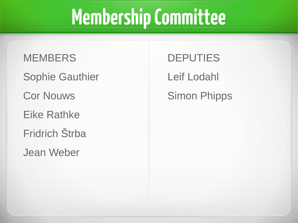 Membership Committee MEMBERS Sophie Gauthier Co...