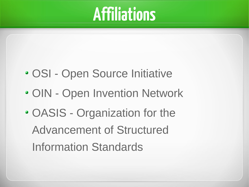 Affiliations OSI - Open Source Initiative OIN -...