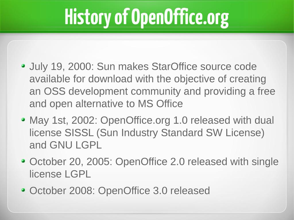 History of OpenOffice.org July 19, 2000: Sun ma...