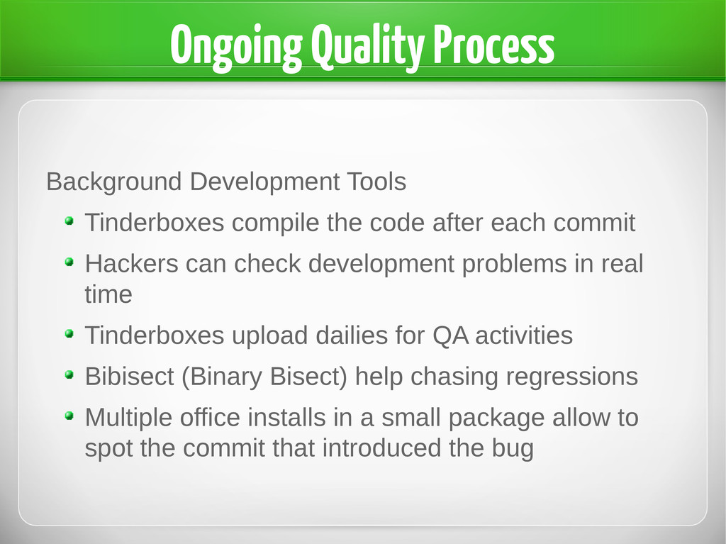 Ongoing Quality Process Background Development ...