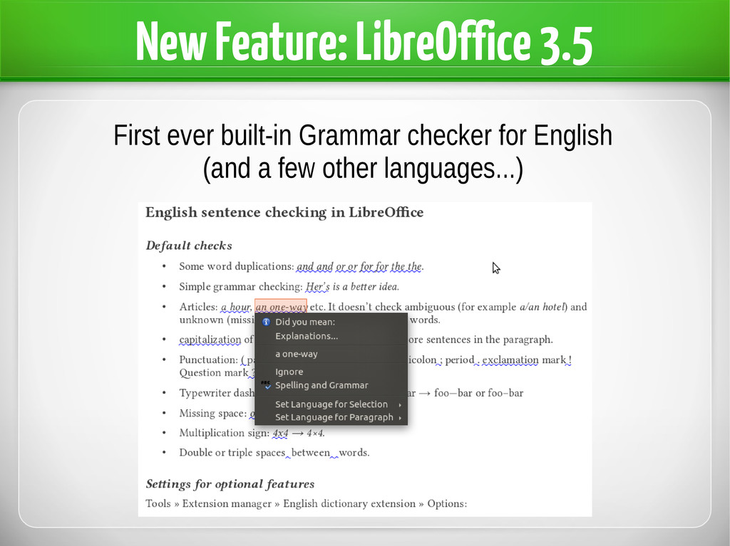 New Feature: LibreOffice 3.5 First ever built-i...