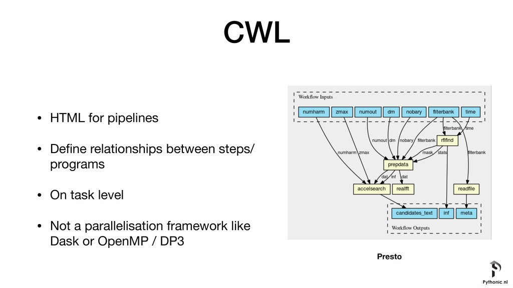 CWL • HTML for pipelines  • Define relationships...