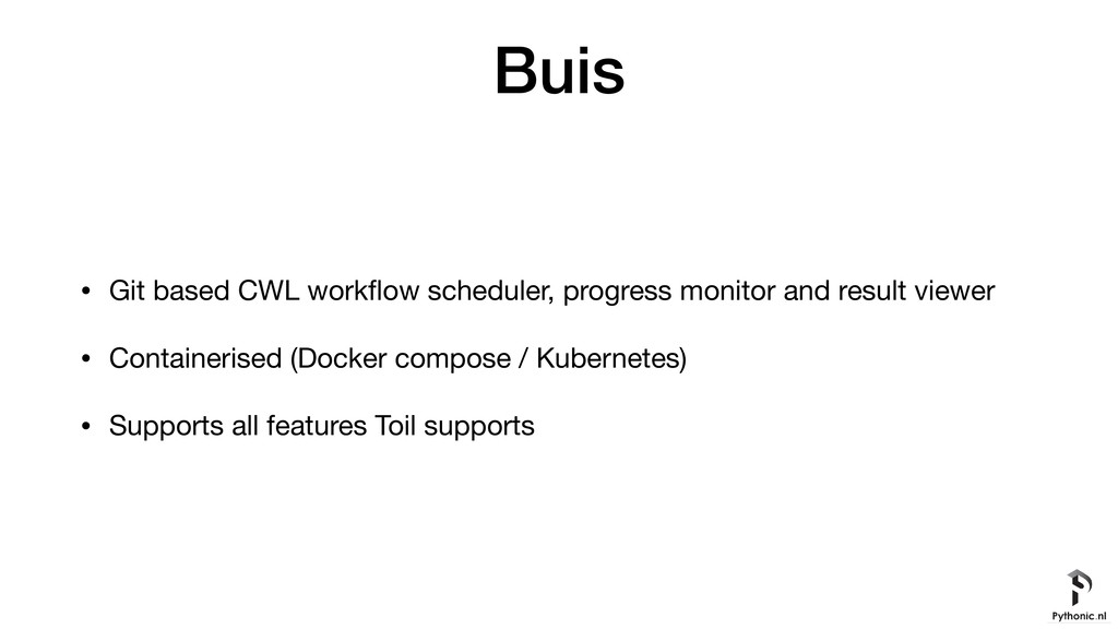 Buis • Git based CWL workflow scheduler, progres...