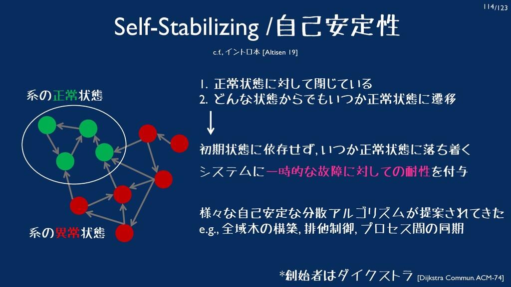 /123 114 Self-Stabilizing /自己安定性 c.f., イントロ本 [A...