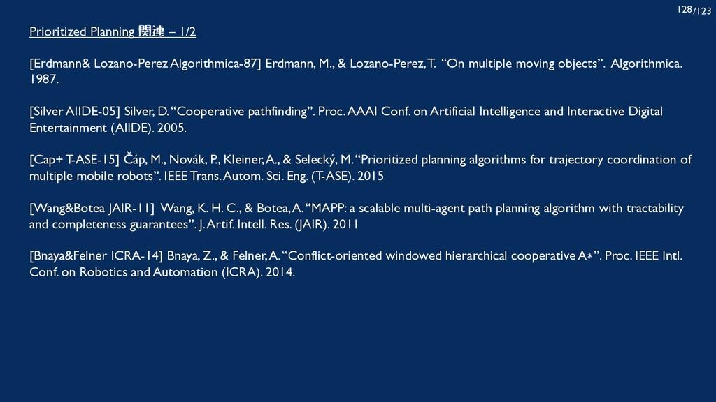 /123 128 Prioritized Planning 関連 – 1/2 [Erdmann...