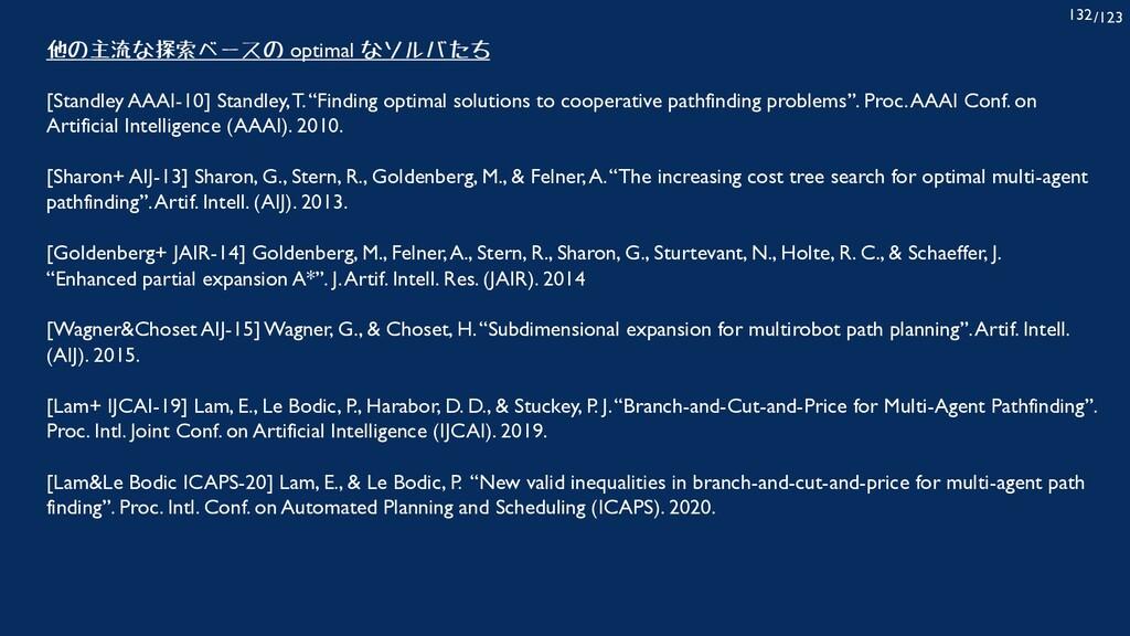 /123 132 他の主流な探索ベースの optimal なソルバたち [Standley A...