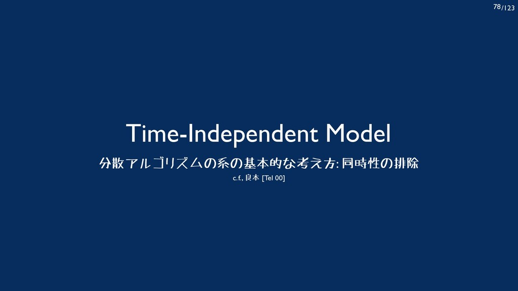 /123 78 Time-Independent Model 分散アルゴリズムの系の基本的な考...