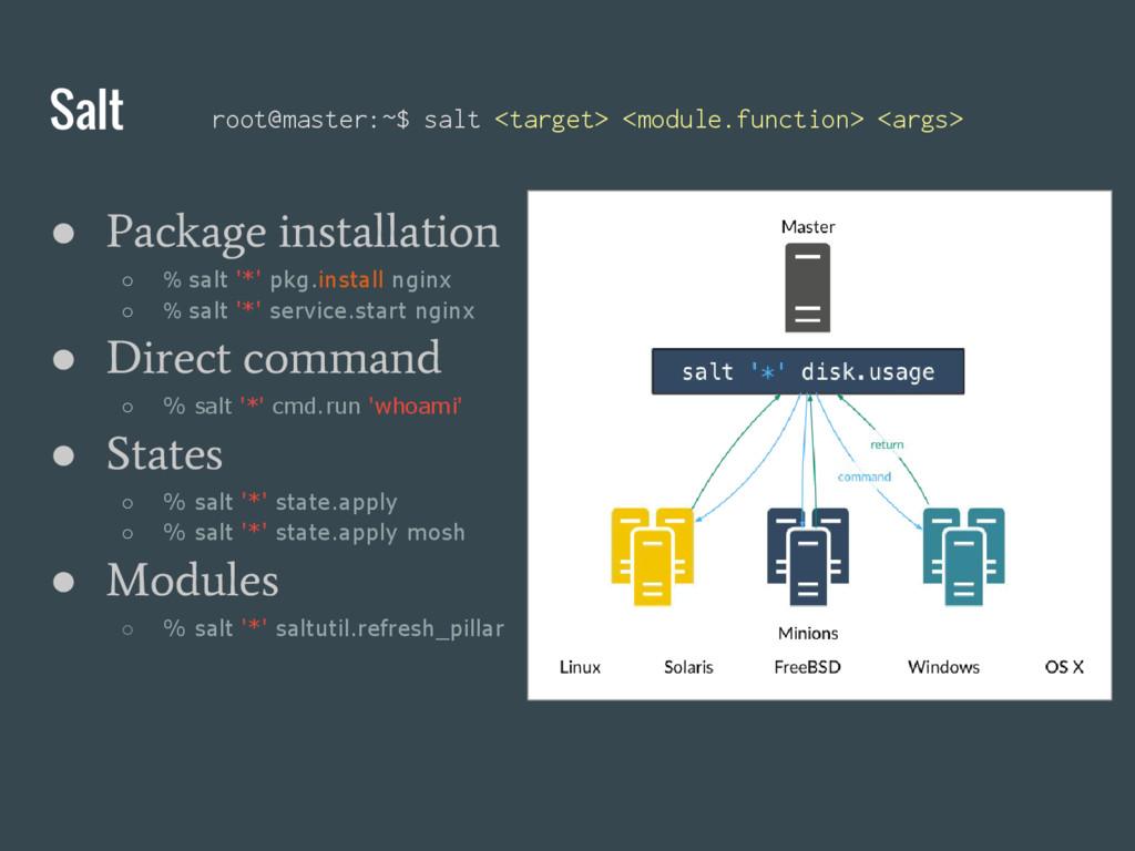 ● Package installation ○ % salt '*' pkg.install...