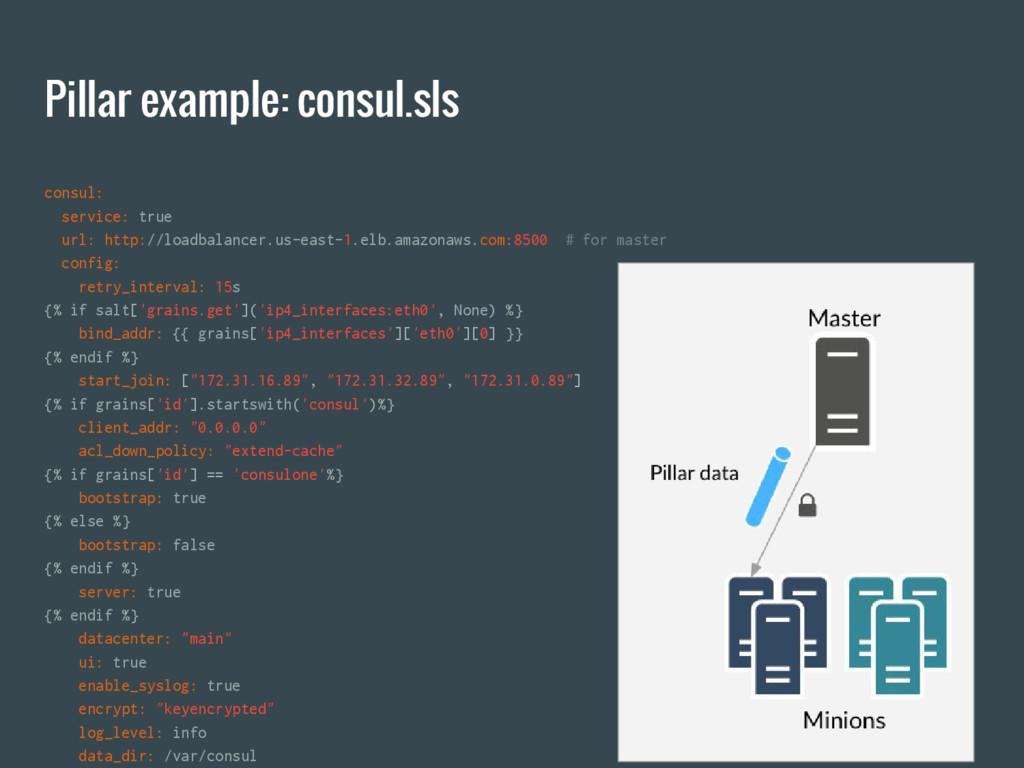 Pillar example: consul.sls consul: service: tru...