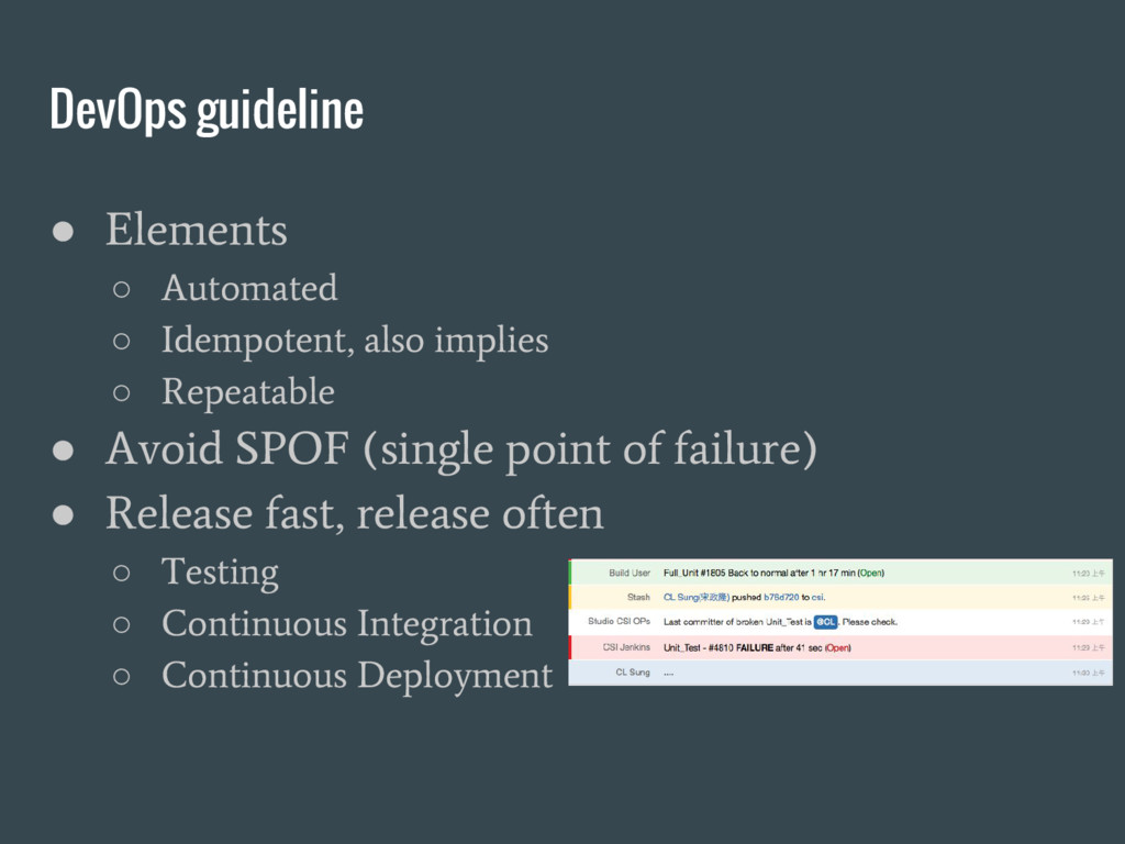 DevOps guideline ● Elements ○ Automated ○ Idemp...