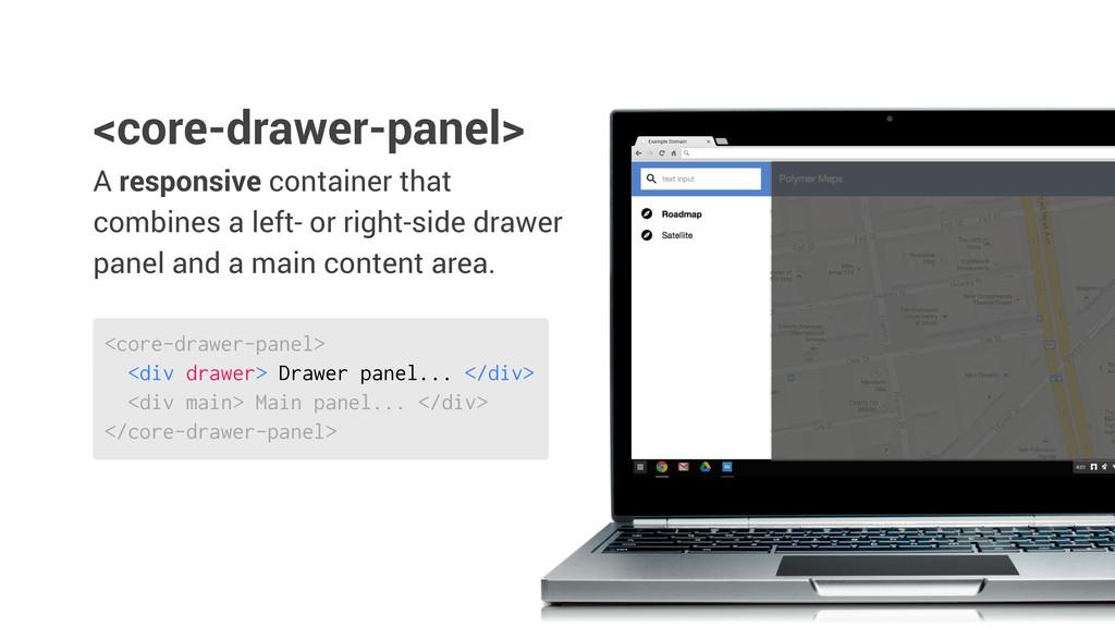<core-drawer-panel> <div drawer> Drawer panel.....