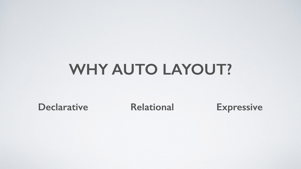 WHY AUTO LAYOUT? Declarative Relational Express...