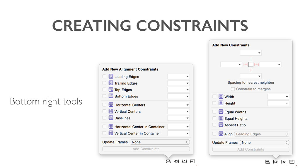 CREATING CONSTRAINTS Bottom right tools