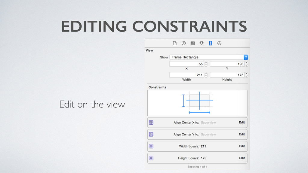 EDITING CONSTRAINTS Edit on the view