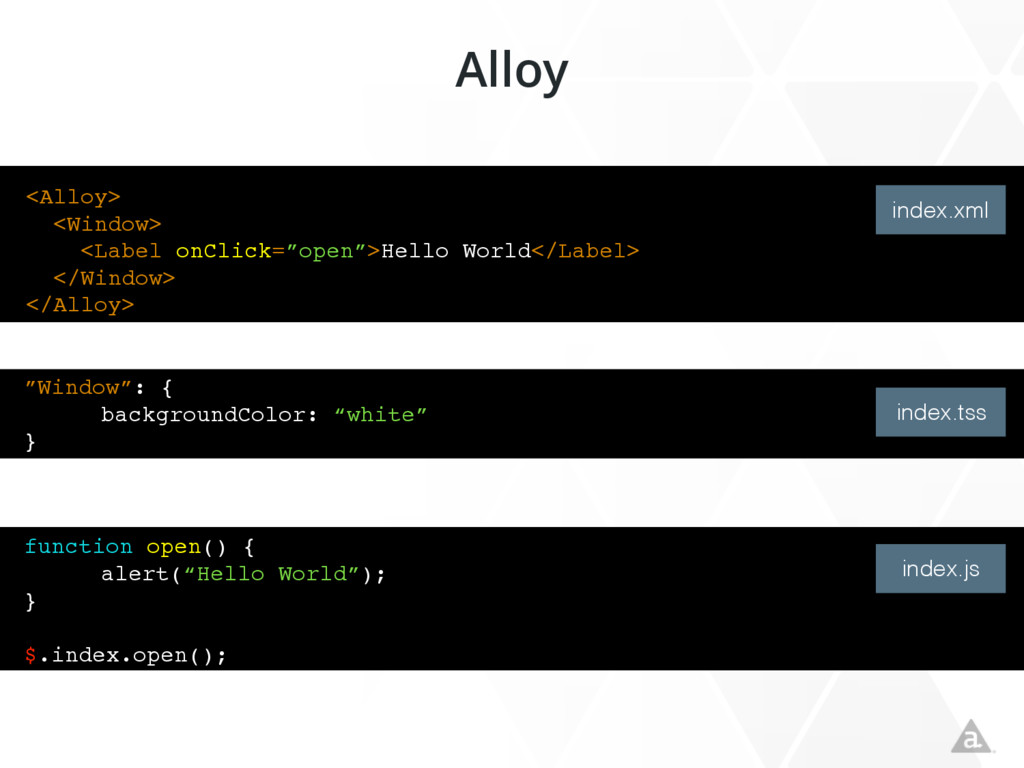 """<Alloy> <Window> <Label onClick=""""open"""">Hello Wo..."""