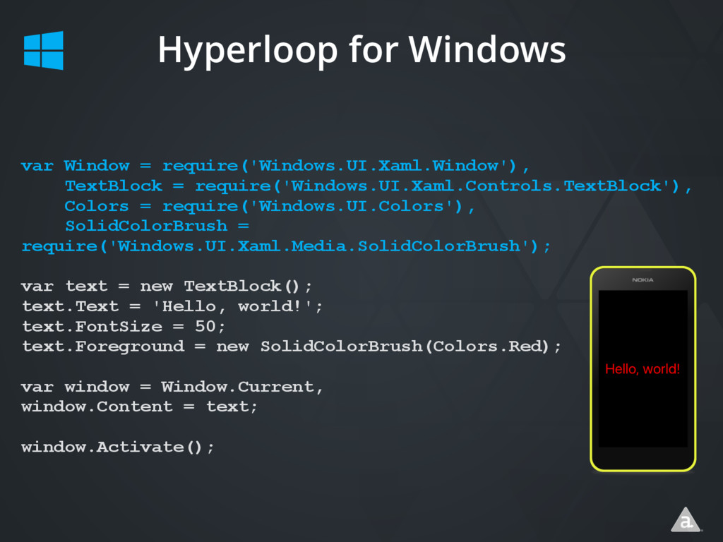 Hyperloop for Windows var Window = require('Win...