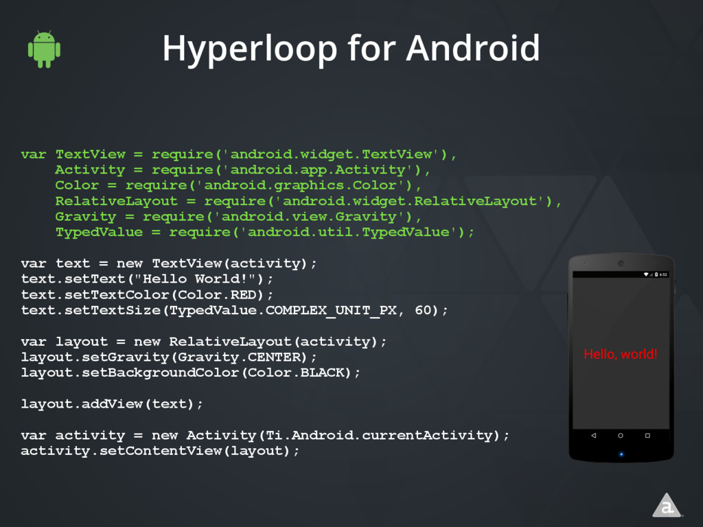 Hyperloop for Android var TextView = require('a...