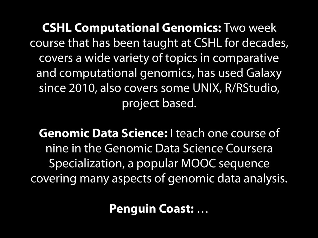 CSHL Computational Genomics: Two week course th...