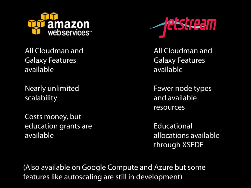 All Cloudman and Galaxy Features available Near...