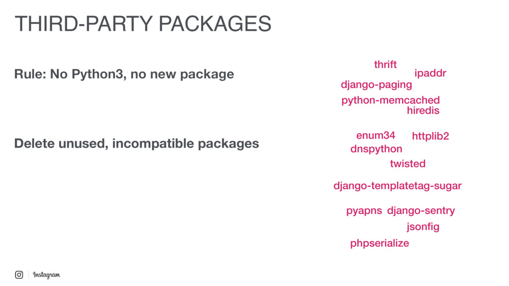 Rule: No Python3, no new package Delete unused,...