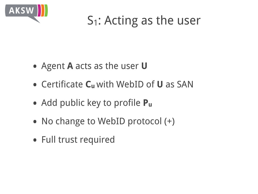 S1: Acting as the user • Agent A acts as the us...