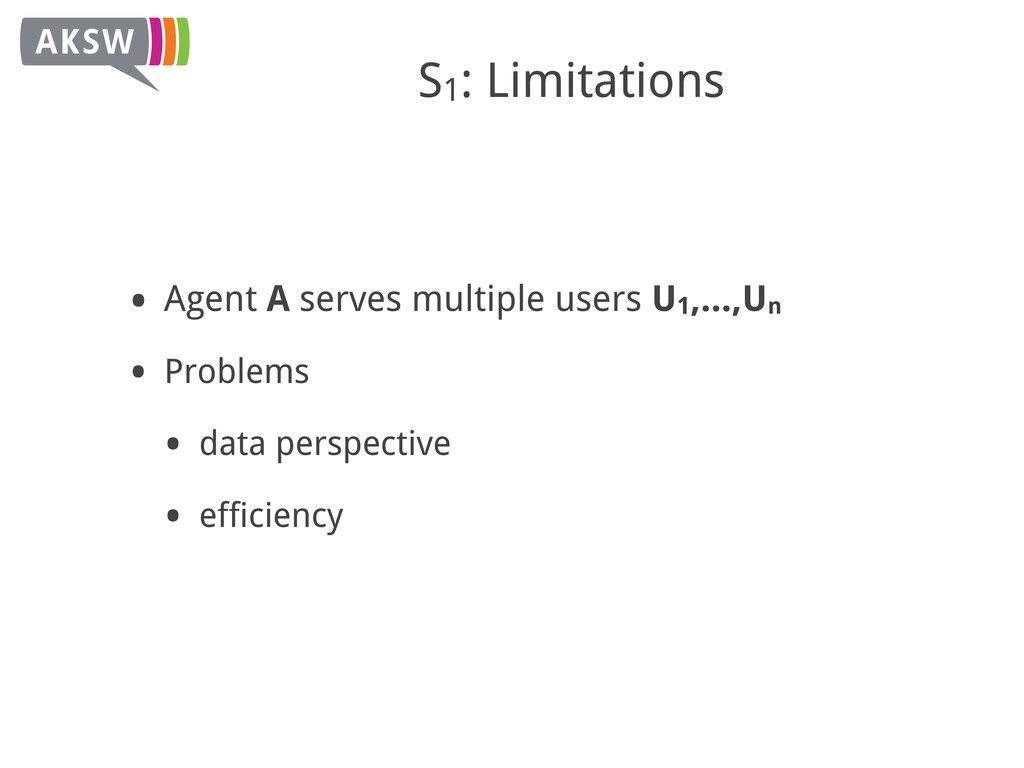 S1: Limitations • Agent A serves multiple users...