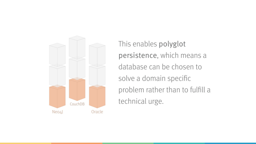This enables polyglot persistence, which means ...