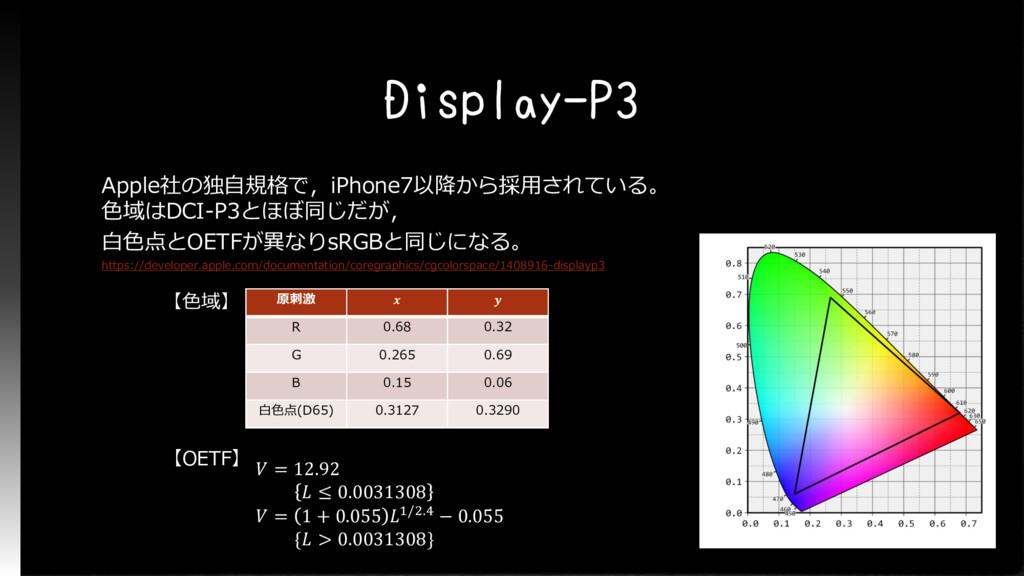 Display-P3 Apple社の独自規格で,iPhone7以降から採用されている。 色域は...