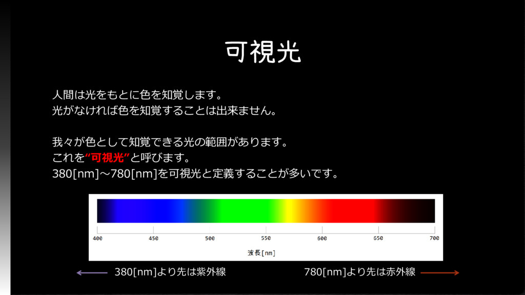 可視光 人間は光をもとに色を知覚します。 光がなければ色を知覚することは出来ません。 我々が色...