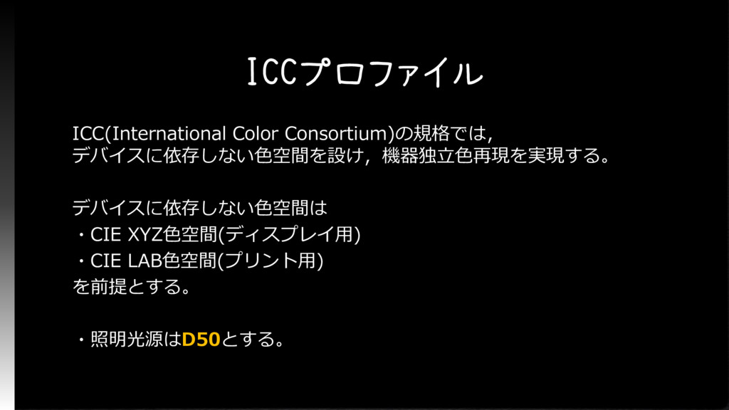 ICCプロファイル ICC(International Color Consortium)の規...