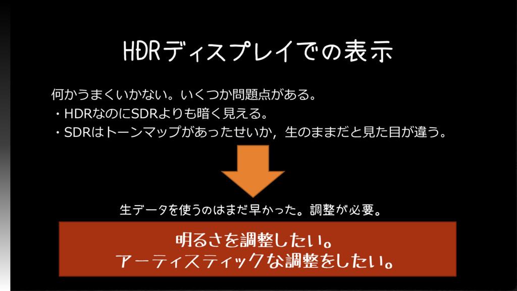 HDRディスプレイでの表示 何かうまくいかない。いくつか問題点がある。 ・HDRなのにSDRよ...