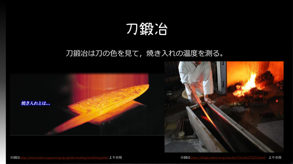 刀鍛冶 刀鍛冶は刀の色を見て,焼き入れの温度を測る。 ※図はhttp://www.tojiro...
