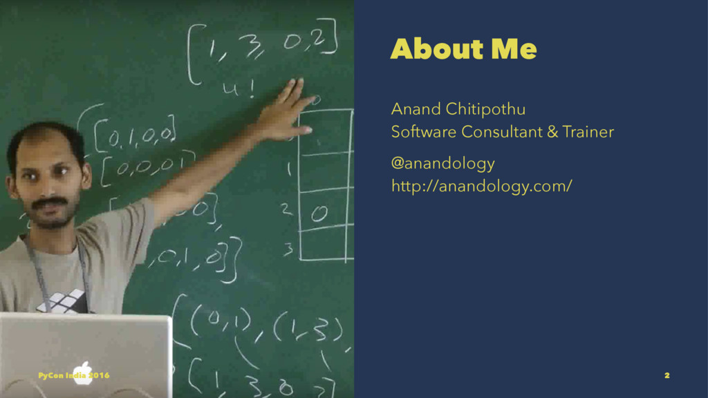 About Me Anand Chitipothu Software Consultant &...