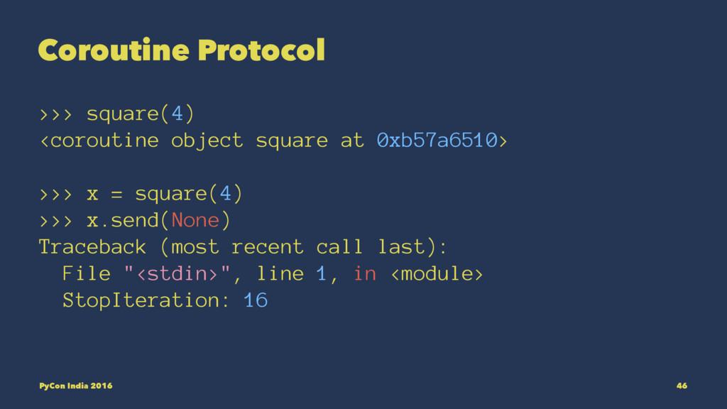 Coroutine Protocol >>> square(4) <coroutine obj...