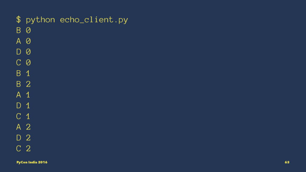 $ python echo_client.py B 0 A 0 D 0 C 0 B 1 B 2...