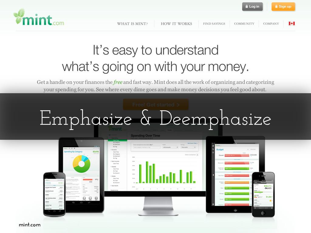Emphasize & Deemphasize mint.com