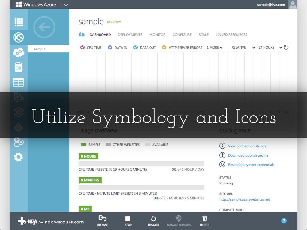 Utilize Symbology and Icons manage.windowsazure...