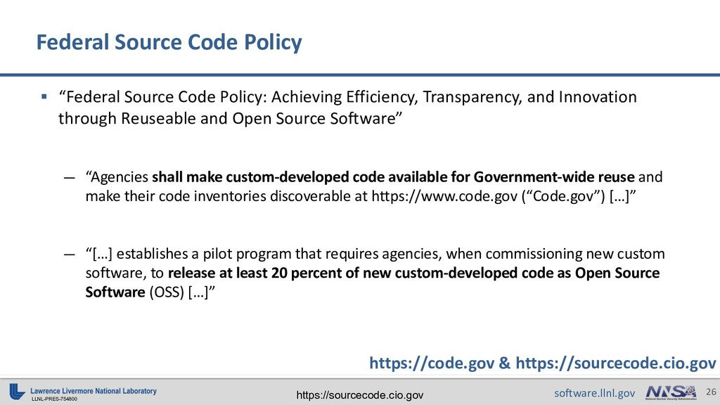 "LLNL-PRES-754800 26 software.llnl.gov § ""Federa..."