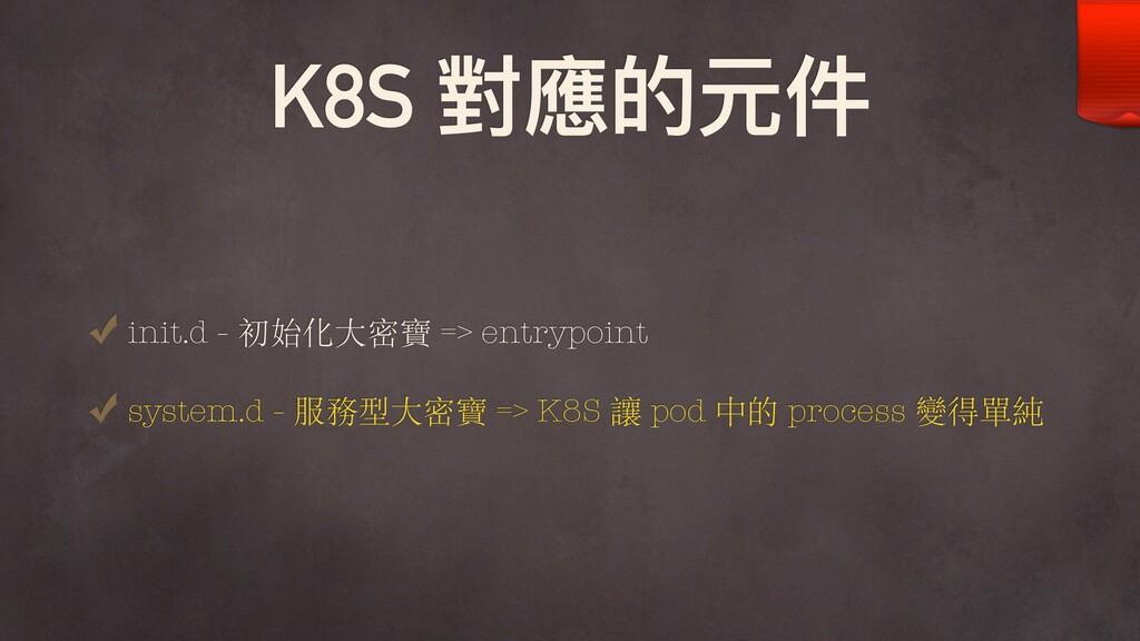 K8S 對應的元件 init.d - 初始化⼤密寶 => entrypoint system....