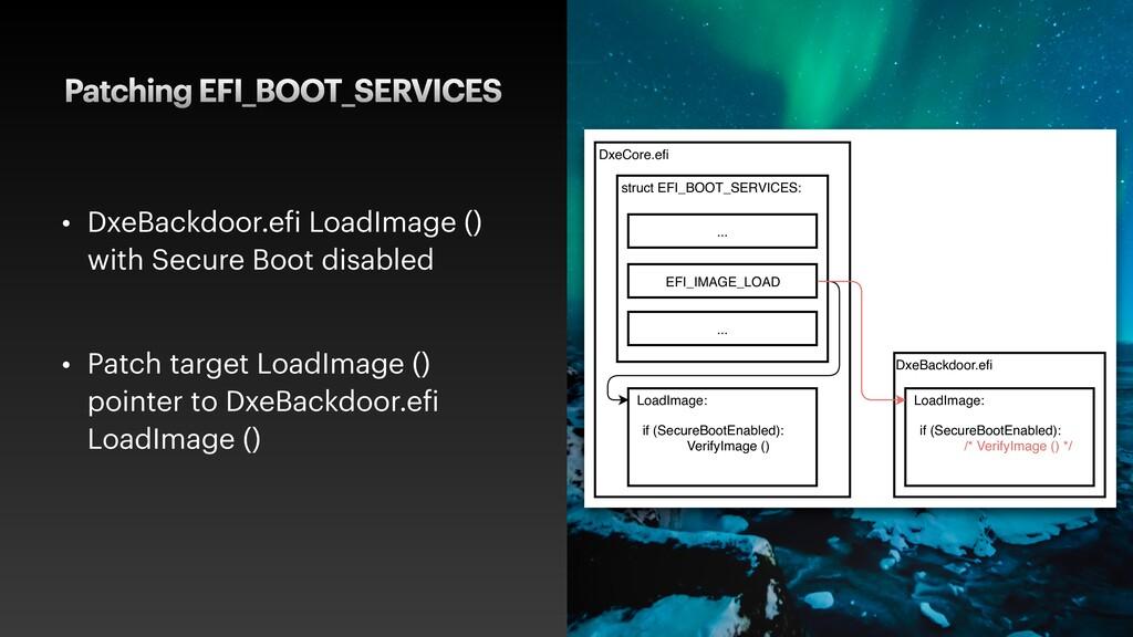 Patching EFI_BOOT_SERVICES • DxeBackdoor.efi Lo...