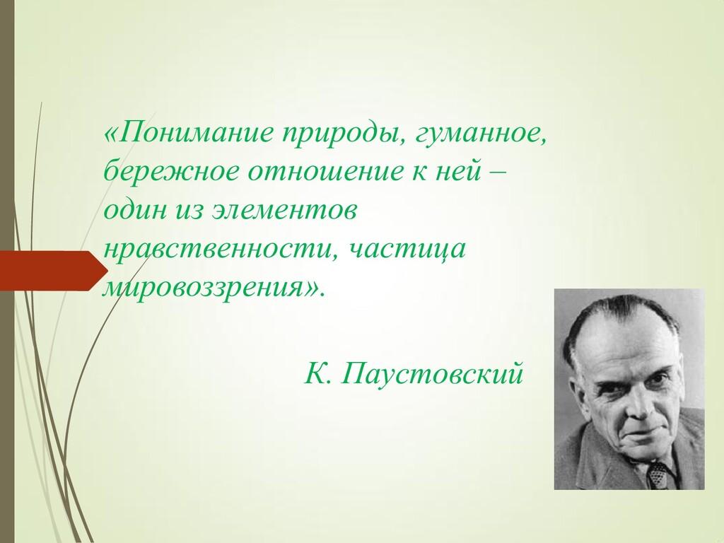 «Понимание природы, гуманное, бережное отношени...