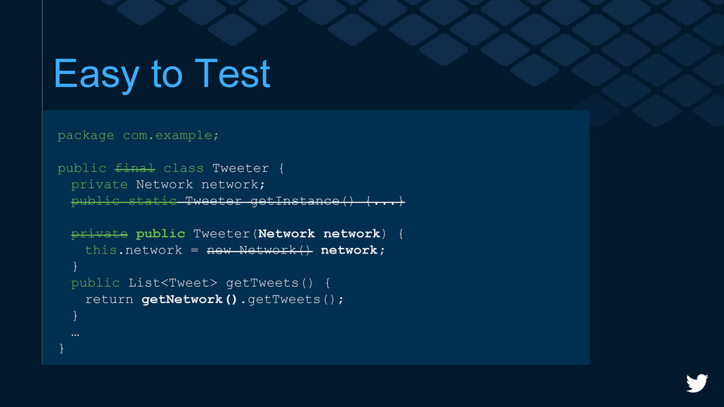 Easy to Test package com.example; public final ...