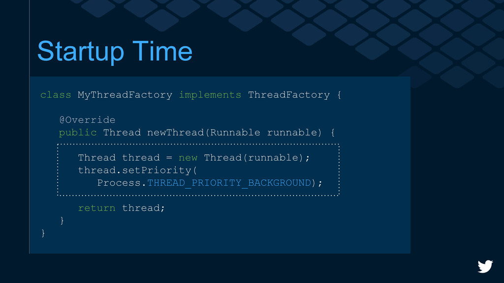 Startup Time class MyThreadFactory implements T...