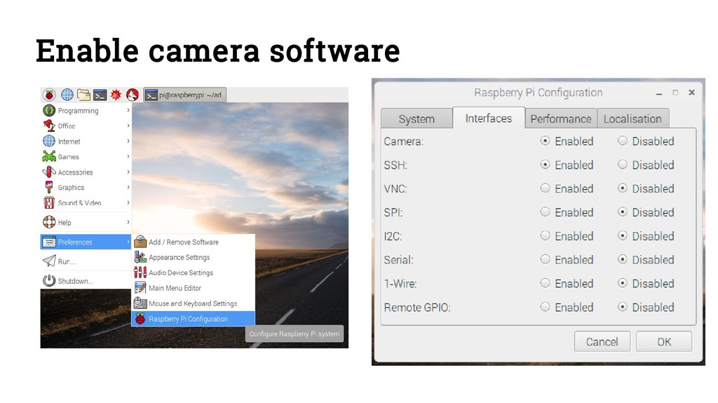 Enable camera software