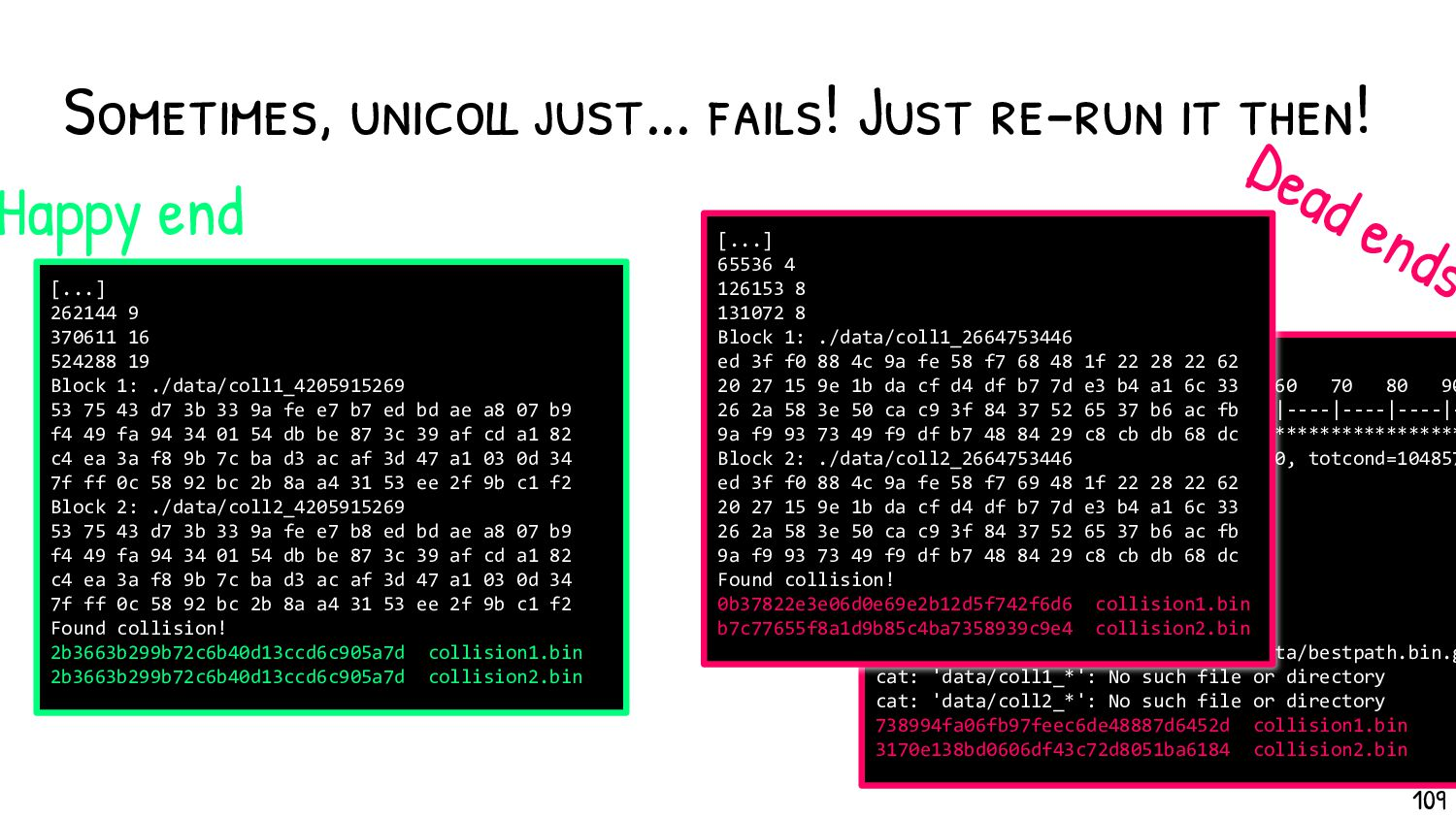 Output of a UniColl computation Characteristics...