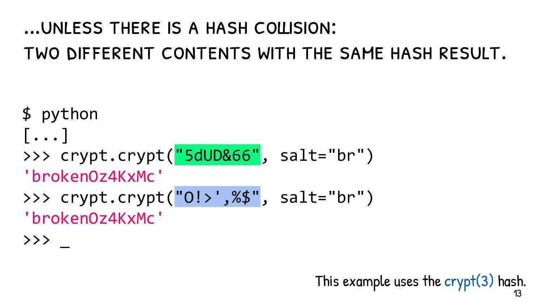 Hash collision != password cracking Password cr...